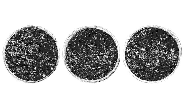 Set di cornici nere rotonde grunge, banner