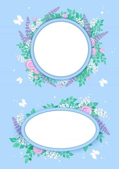 Set di cornici per testo o foto decorato con fiori stilizzati estivi e farfalle bianche.
