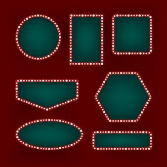 Set di cornici retrò vintage su sfondo rosso. brillanti cartelloni pubblicitari al neon di diverse forme. decorazione di cinema, bar o casinò.