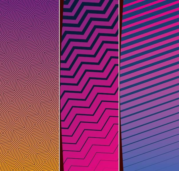 Set di cornici rosa viola giallo sfumato e pattern sfondi, copertina.