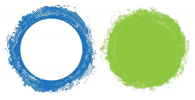 Set di cornici rotonde colorate grunge