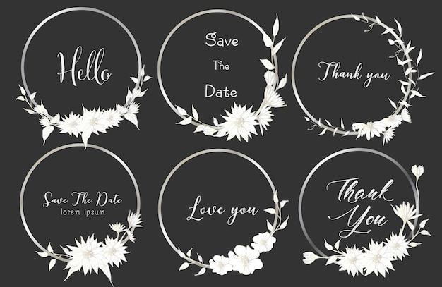 Set di cornici rotonde divisori, fiori disegnati a mano.