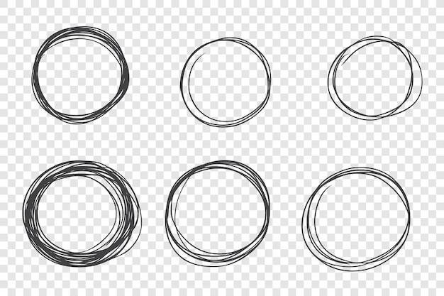 Set di cornici scarabocchi disegnati a mano rotondo