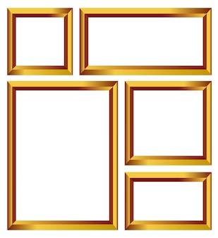 Set di cornici vettoriali oro, bordi dorati isolati
