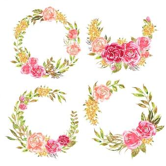 Set di corona di fiori acquerello rosa romantico morbido