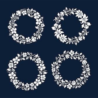 Set di corona floreale monocromatica