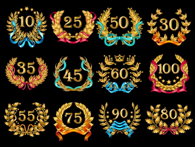 Set di corone d'oro ornato del fumetto