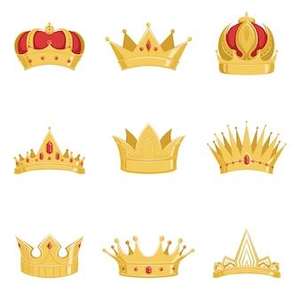 Set di corone d'oro reali, simboli del potere del re e della regina illustrazioni su sfondo bianco