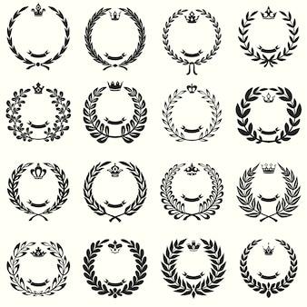 Set di corone di alloro vettoriale