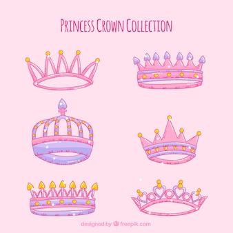 Set di corone di princess in stile disegnato a mano