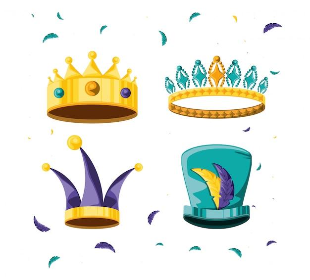 Set di corone per carnevale di festa