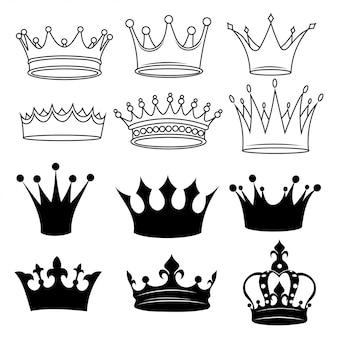 Set di corone stilizzate. collezione di corone bianche e nere. illustrazione.