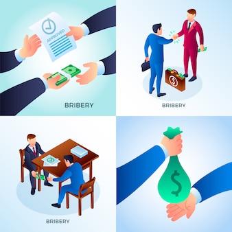 Set di corruzione. set isometrico di personaggi di corruzione