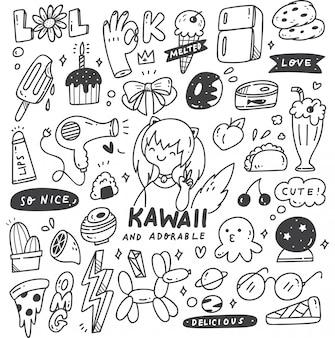 Set di cose carine doodles