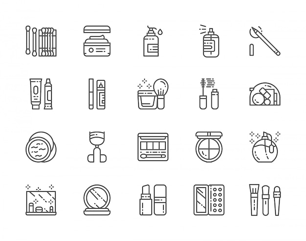 Set di cosmetici e icone di trucco