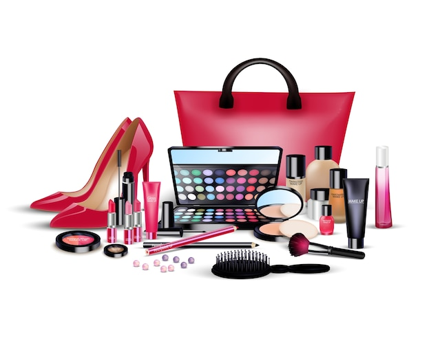 Set di cosmetici e roba della signora su sfondo isolato