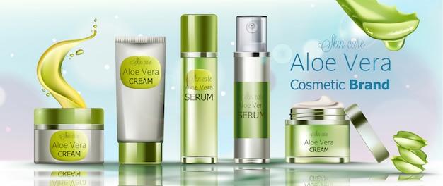 Set di cosmetici in crema e siero per la cura della pelle. marchio cosmetico di aloe vera