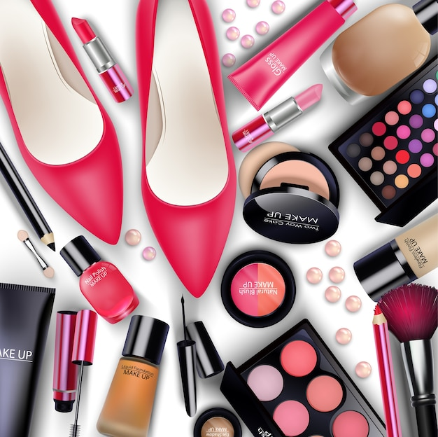 Set di cosmetici su sfondo bianco
