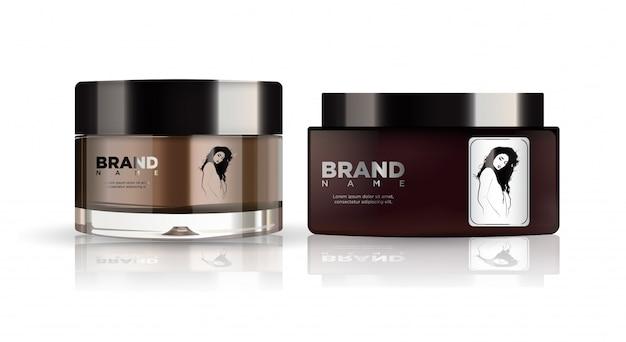 Set di cosmetici tondi in plastica marrone e argento