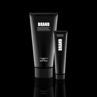 Set di cosmetici, vasetto di crema, tubo, bottiglie di contenitori in plastica con spray ,. modello realistico 3d del pacchetto cosmetico.