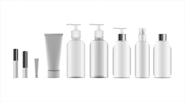 Set di cosmetici, vasetto di crema, tubo, bottiglie di contenitori in plastica con spray ,. pacchetto cosmetico realistico 3d.