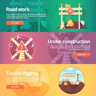 Set di costruzione e costruzione. illustrazioni sul tema dei lavori stradali, in costruzione, scavo di trincee. concetto.