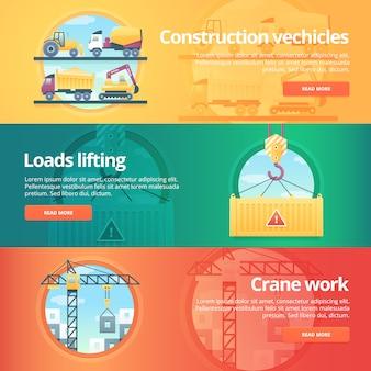 Set di costruzione e costruzione. illustrazioni sul tema dei veicoli da costruzione, sollevamento pesi, lavori con gru. concetto.