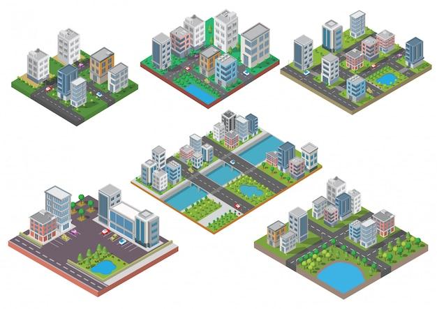 Set di costruzione isometrica della città