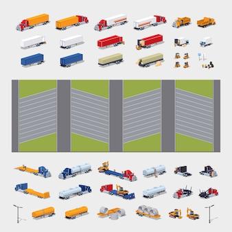 Set di costruzione isometrica di parcheggio lowpoly 3d