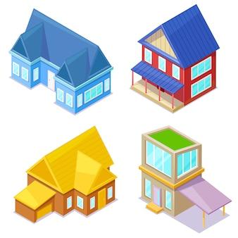 Set di cottage isometrici su bianco.