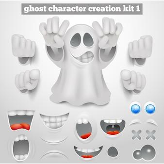 Set di creazione di halloween emoticon fantasma personaggio dei cartoni animati.