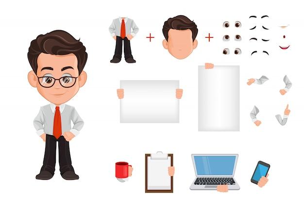 Set di creazione di uomo d'affari, costruttore
