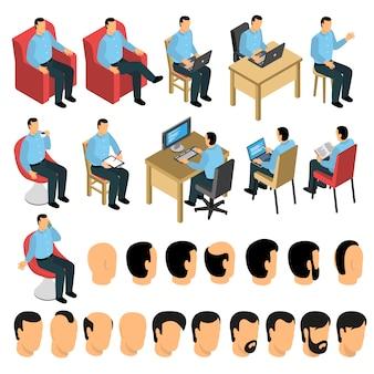 Set di creazione uomo seduto