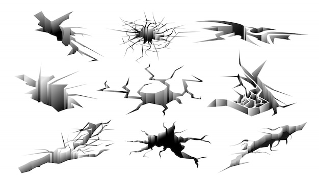 Set di crepe al suolo. foro di terremoto isolato. raccolta di crepe nel terreno di distruzione della terra. illustrazione vettoriale di frattura superficiale