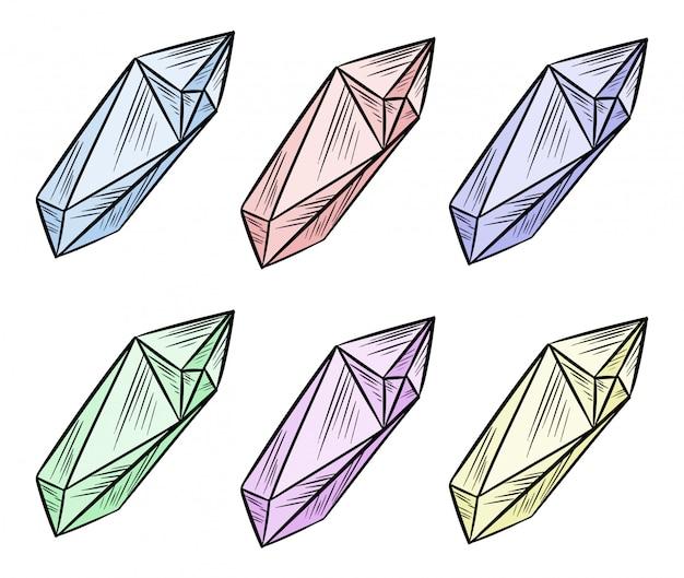 Set di cristallo doodle immagine. gemme colorate in stile cartone animato. media evidenzia la raccolta di simboli grafici