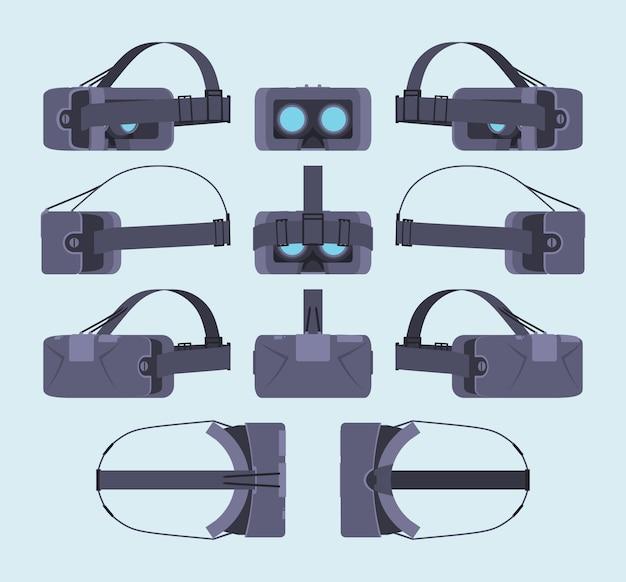 Set di cuffie per realtà virtuale. gli oggetti sono isolati contro lo sfondo azzurro e mostrati da lati diversi