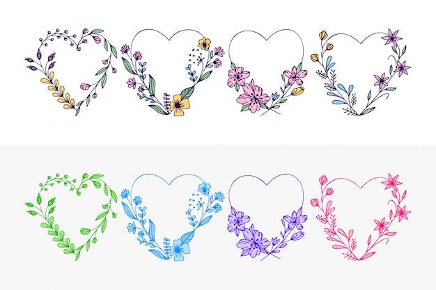 Set di cuori disegnati a mano corona con fiori stilizzati