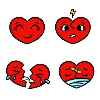Set di cuori emoticon simpatico cartone animato, felice, triste, rotto.
