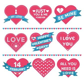 Set di cuori per la celebrazione di san valentino