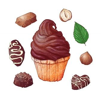 Set di cupcakes cioccolatini fine noci, disegno a mano. vettore