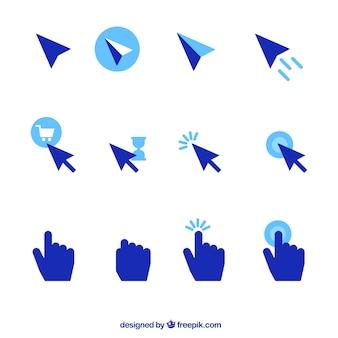 Set di cursori blu