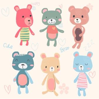 Set di cute baby orsacchiotti personaggio dei cartoni animati mano disegno in colore pastello
