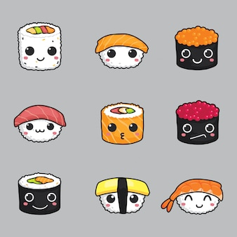 Set di cute sushi face vector