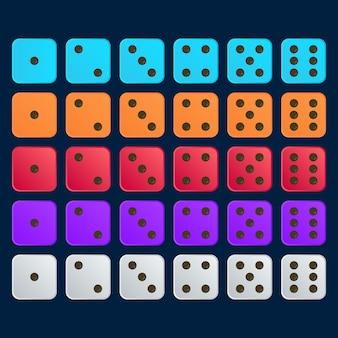 Set di dadi piatto 3d