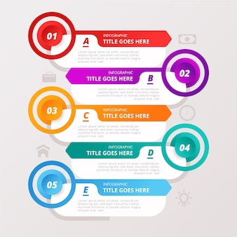 Set di dati colorati infografica con dettagli