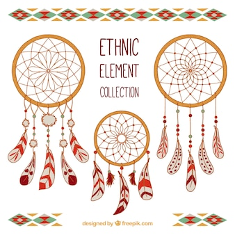Set di decorative dreamcatcher disegnato a mano