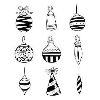 Set di decorazione di luci di natale con stile doodle