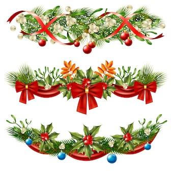 Set di decorazione di rami di bacche di natale