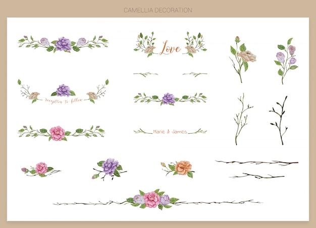Set di decorazione dipinta ad acquerello a mano