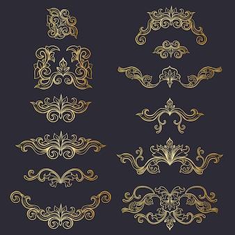 Set di decorazione floreale copricapo isolato o ornamenti dorati